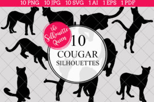 Cougar Silhouettes Clipart