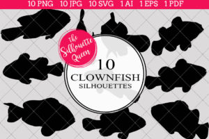 Clown Fish Silhouettes Clipart
