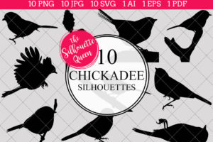 Chickadee Silhouettes Clipart