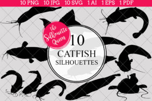 Catfish Silhouettes Clipart