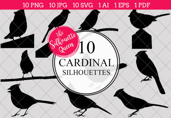 Cardinal Silhouettes Clipart