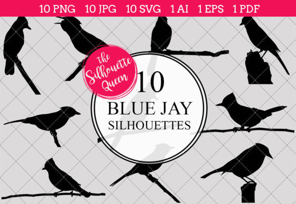 Blue Jay Silhouettes Clipart