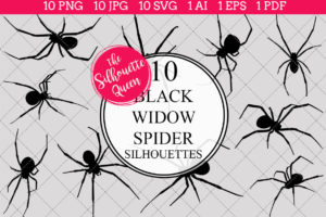 Black Widow Spider Silhouettes Clipart