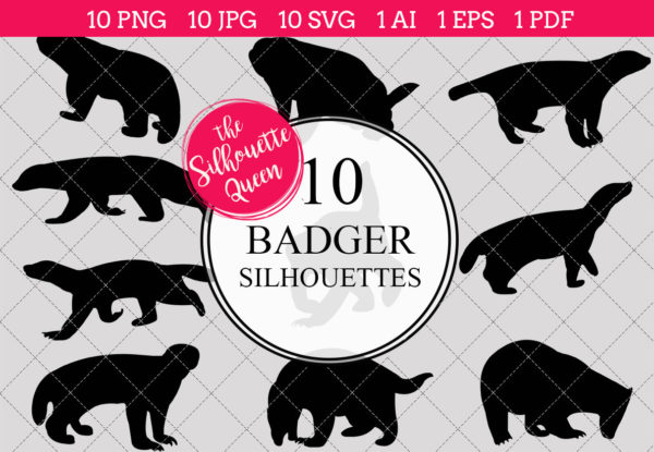 Badger Silhouettes Clipart