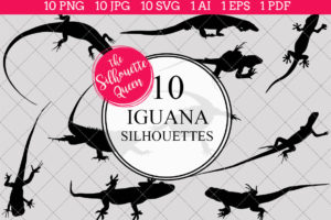 Iguana Silhouettes Clipart