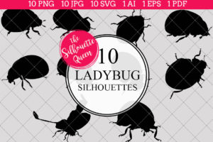 Lady Bug Silhouettes Clipart