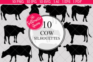 Cow Silhouettes Clipart