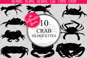 Crab Silhouettes Clipart