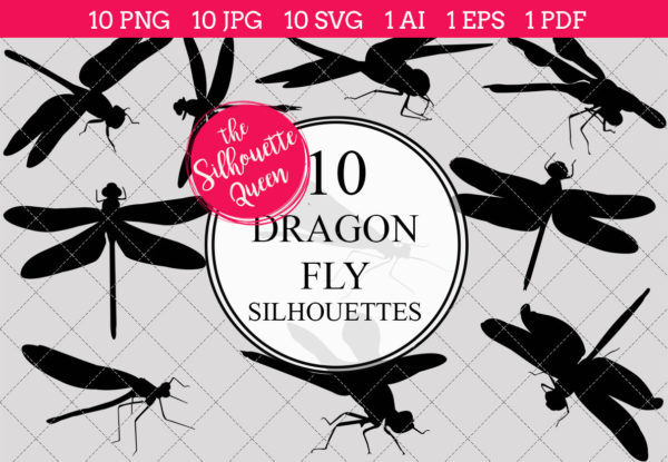 Dragon Fly Silhouettes Clipart