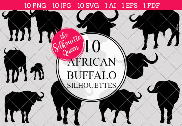 African Buffalo Silhouettes Clipart