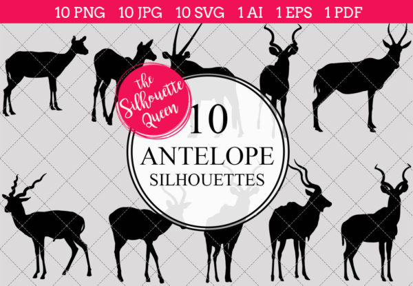 Antelope Silhouettes Clipart