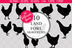 Land Fowl Silhouettes Clipart