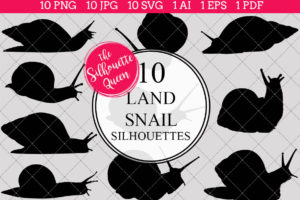 Land Snail Silhouettes Clipart