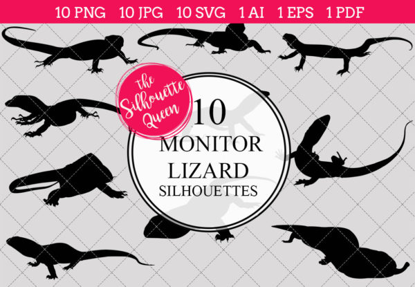 Monitor Lizard Silhouettes Clipart