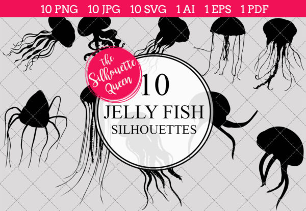Jelly Fish Silhouettes Clipart