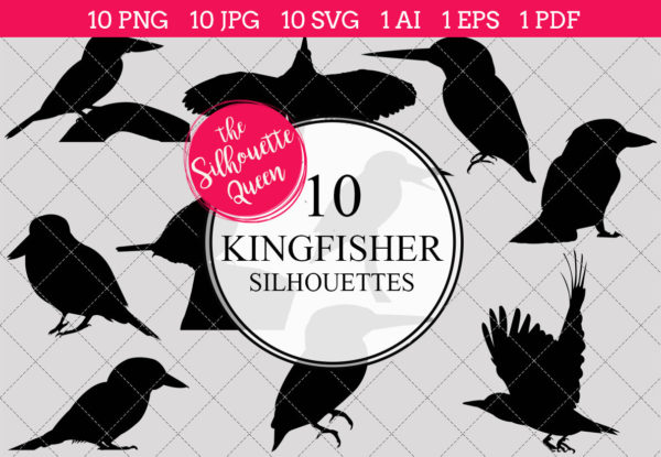 Kingfisher Silhouettes Clipart