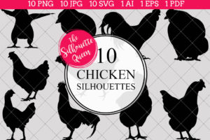 Chicken Silhouettes Clipart
