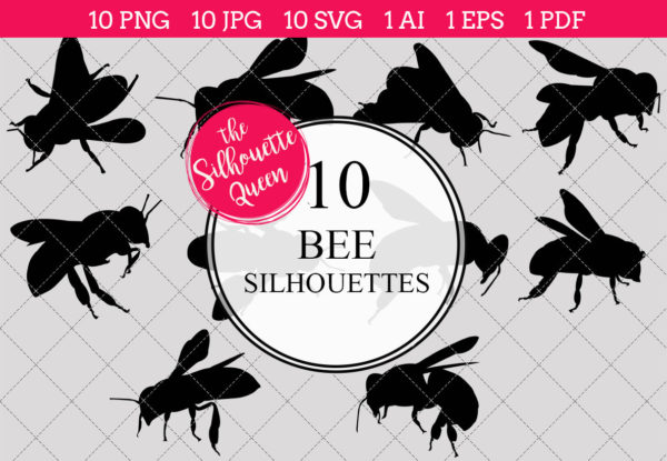 Bee Silhouettes Clipart