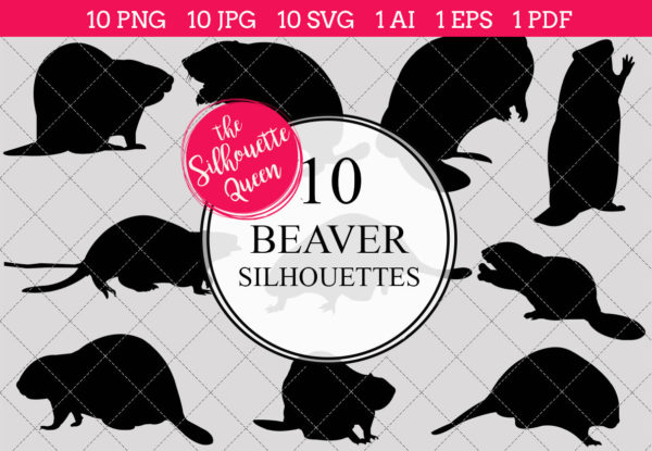 Beaver Silhouettes Clipart