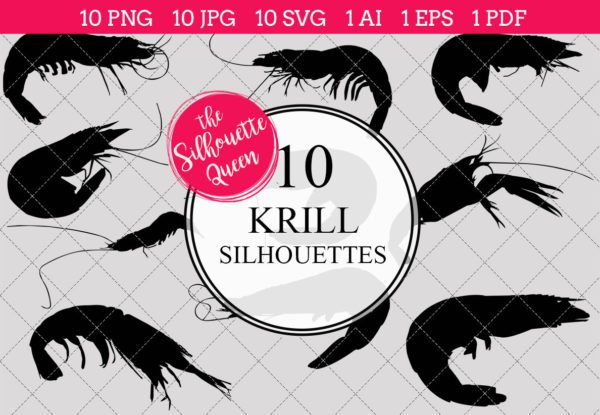 Krill Silhouettes Clipart