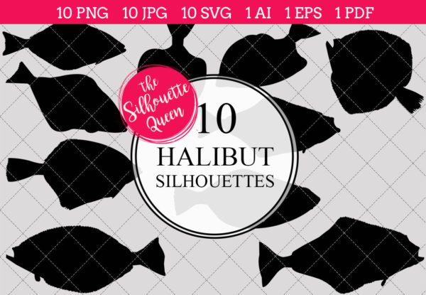 Halibut Silhouettes Clipart