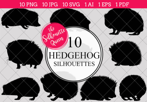 Hedgehog Silhouettes Clipart