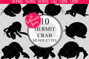 Hermit Crab Silhouettes Clipart