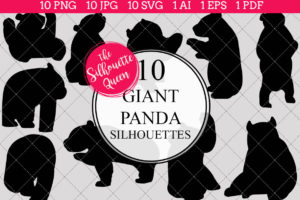 Giant Panda Silhouettes Clipart