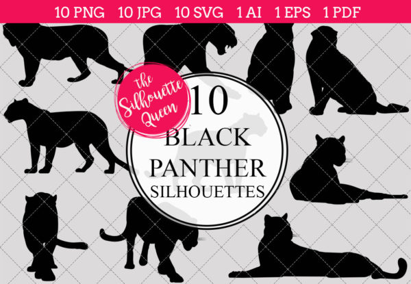Black Panther Silhouettes Clipart