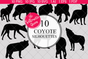 Coyote Silhouettes Clipart