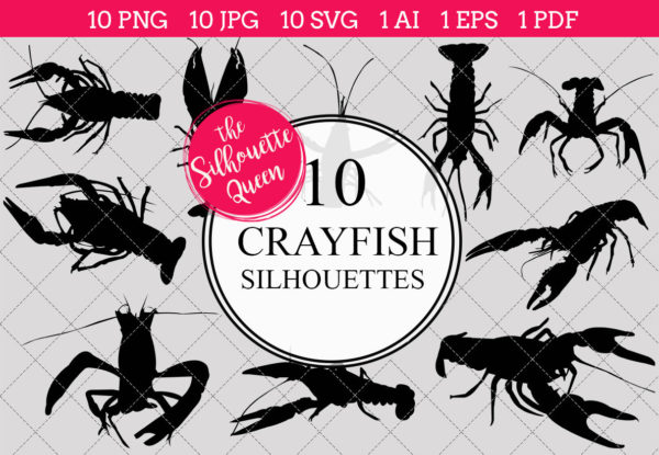Crayfish Silhouettes Clipart