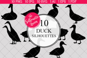 Duck Silhouettes Clipart