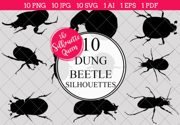Dung Beetle Silhouettes Clipart