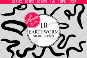Earthworm Silhouettes Clipart