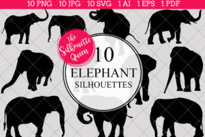Elephant Silhouettes Clipart