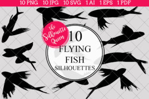 Flying Fish Silhouettes Clipart