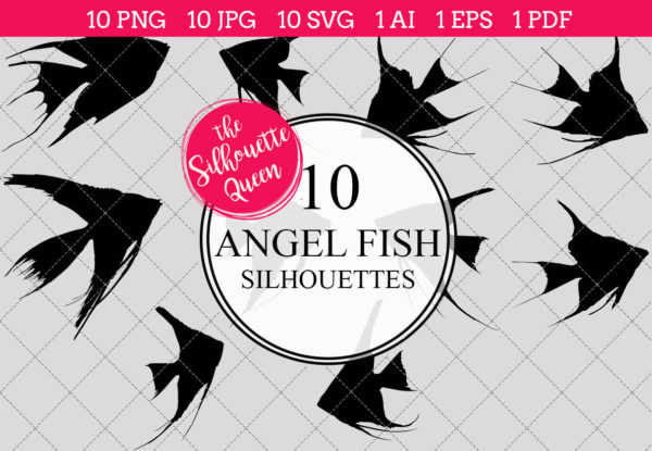 Angel Fish Silhouettes Clipart