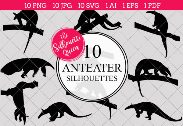 Anteater Silhouettes Clipart
