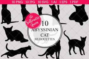 Abyssinian Cat Silhouettes Clipart Clip Art(AI