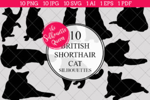 British Shorthair Cat Silhouettes Clipart (AI