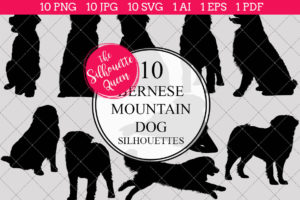 Burnese Mountain Dog Silhouettes Clipart Clip Art (AI