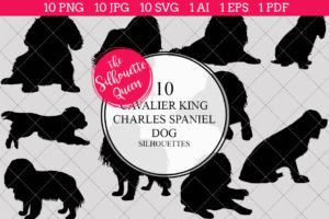 Cavalier King Cocker Spaniel Dog Silhouettes Clipart Clip Art (AI