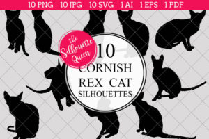 Cornish Rex Cat Silhouettes Clipart Clip Art(AI