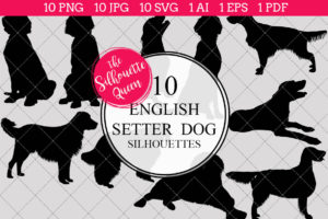English Setter Dog Silhouettes Clipart Clip Art (AI