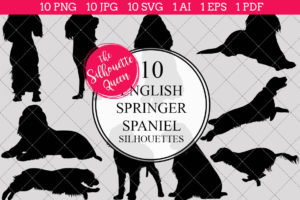English Springer Spaniel Dog Silhouettes Clipart Clip Art (AI