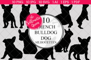 French Bull Dog Silhouettes Clipart Clip Art (AI