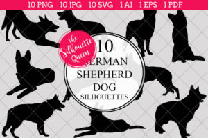 German Shepherd Dog Silhouettes Clipart Clip Art (AI
