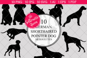 German Short Haired Pointer Dog Silhouettes Clipart Clip Art (AI