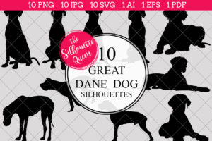 Great Dane Dog Silhouettes Clipart Clip Art (AI