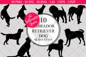 Labrador Retriever Dog Silhouettes Clipart Clip Art (AI